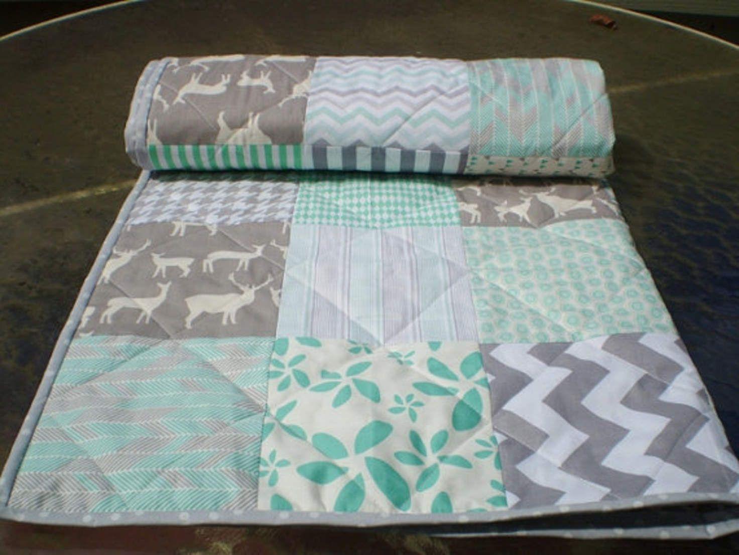 Modern Baby quilt,mint green,grey,patchwork crib quilt,woodland ... : organic baby quilt - Adamdwight.com