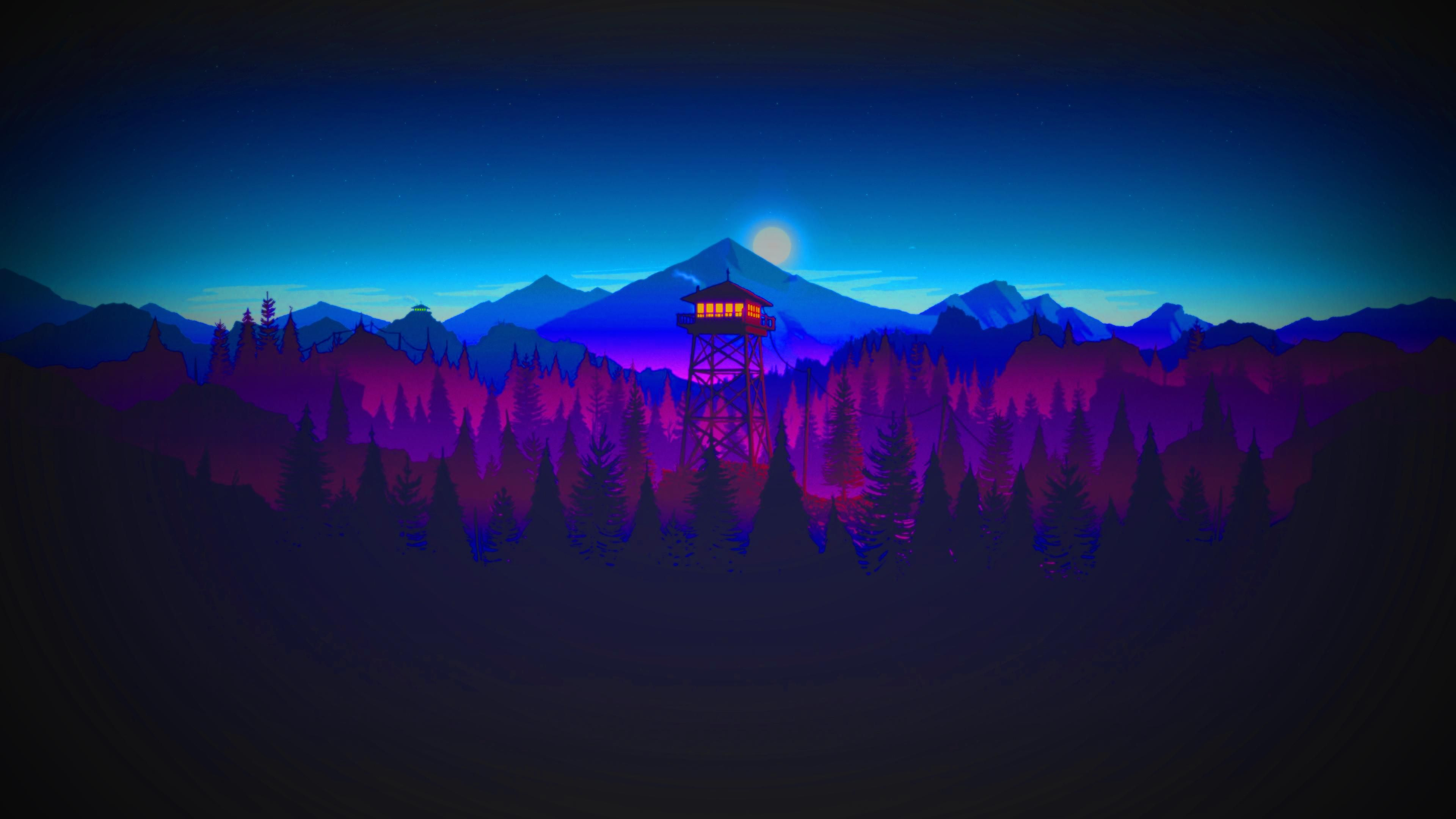 Firewatch style watchtower [3840×2160] wallpaper