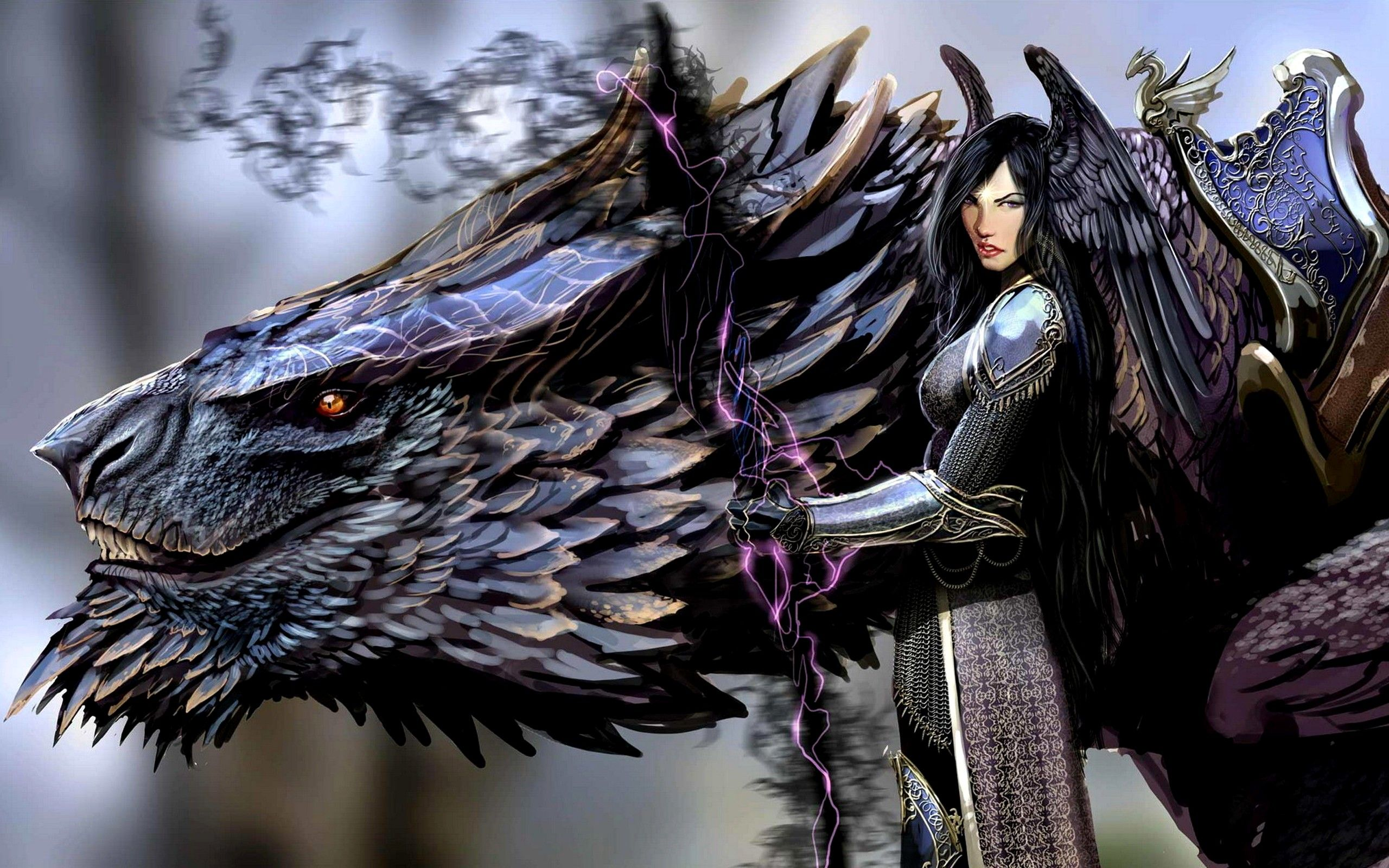 Amazing Dark Angel And Black Dragon Anime Hd Wallpaper Picture