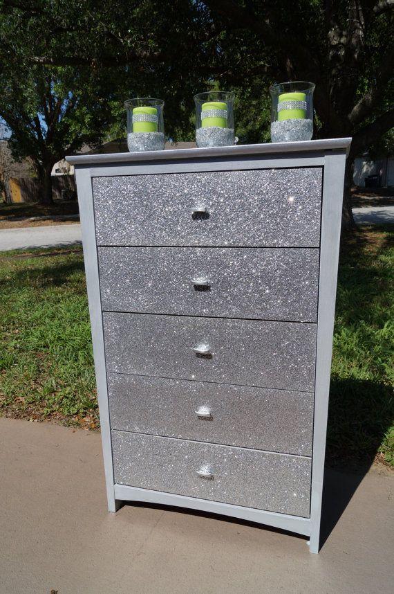 silver dresser by lmodesigngroup on etsy diy silver dresser glitter furniture. Black Bedroom Furniture Sets. Home Design Ideas
