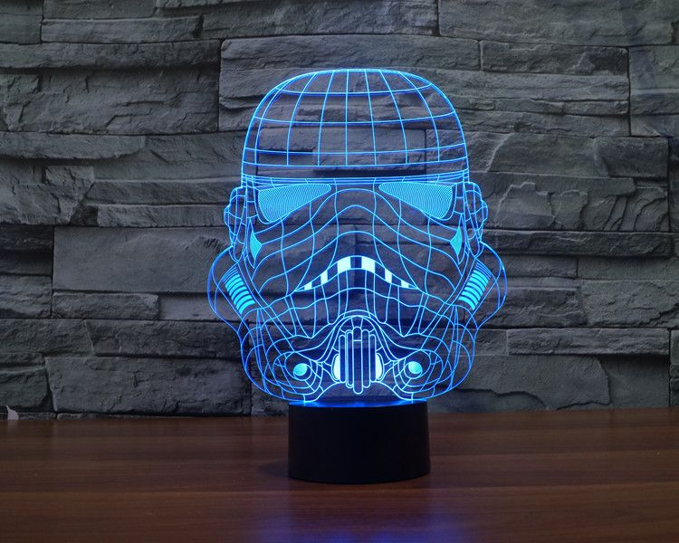 7 Colors 3d Illusion Led Star Wars Soldier S Helmet Lamp Night Light Beautiful Curves Designs Star Wars Lamp 3d Led Night Light 3d Led Lamp