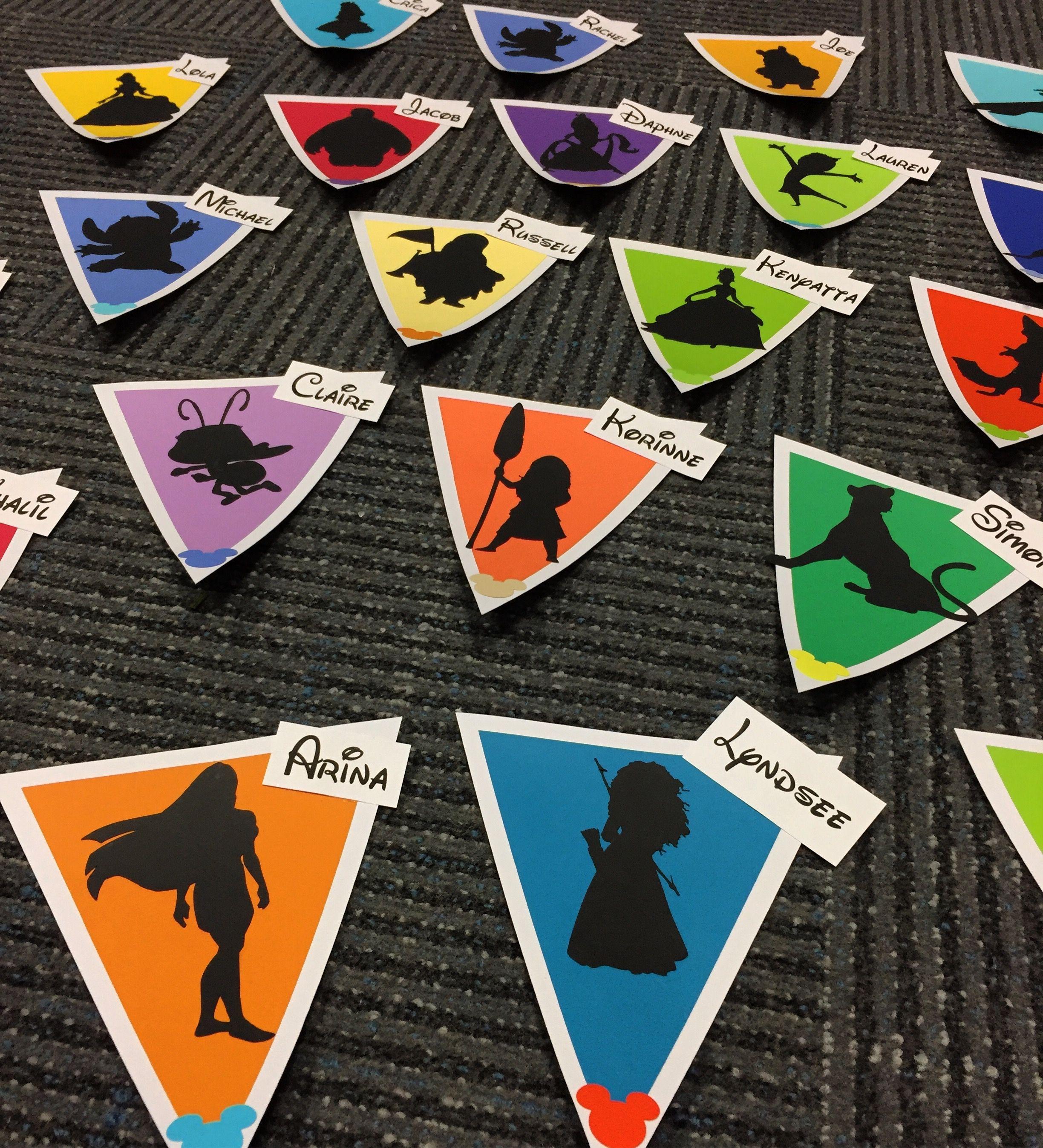 Disney silhouette door dec pennants! Having a Cricut changed my life for door decs!