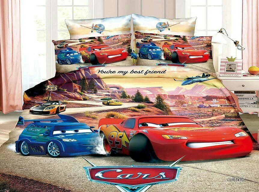 Cars Lightning Mcqueen Bedding Set Single Twin 3pc Bright Color