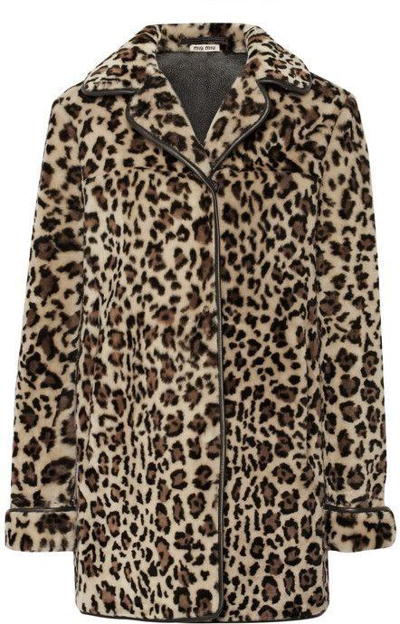 79ed9310ce Miu Miu Leopard-print shearling coat on shopstyle.com   Fashion ...