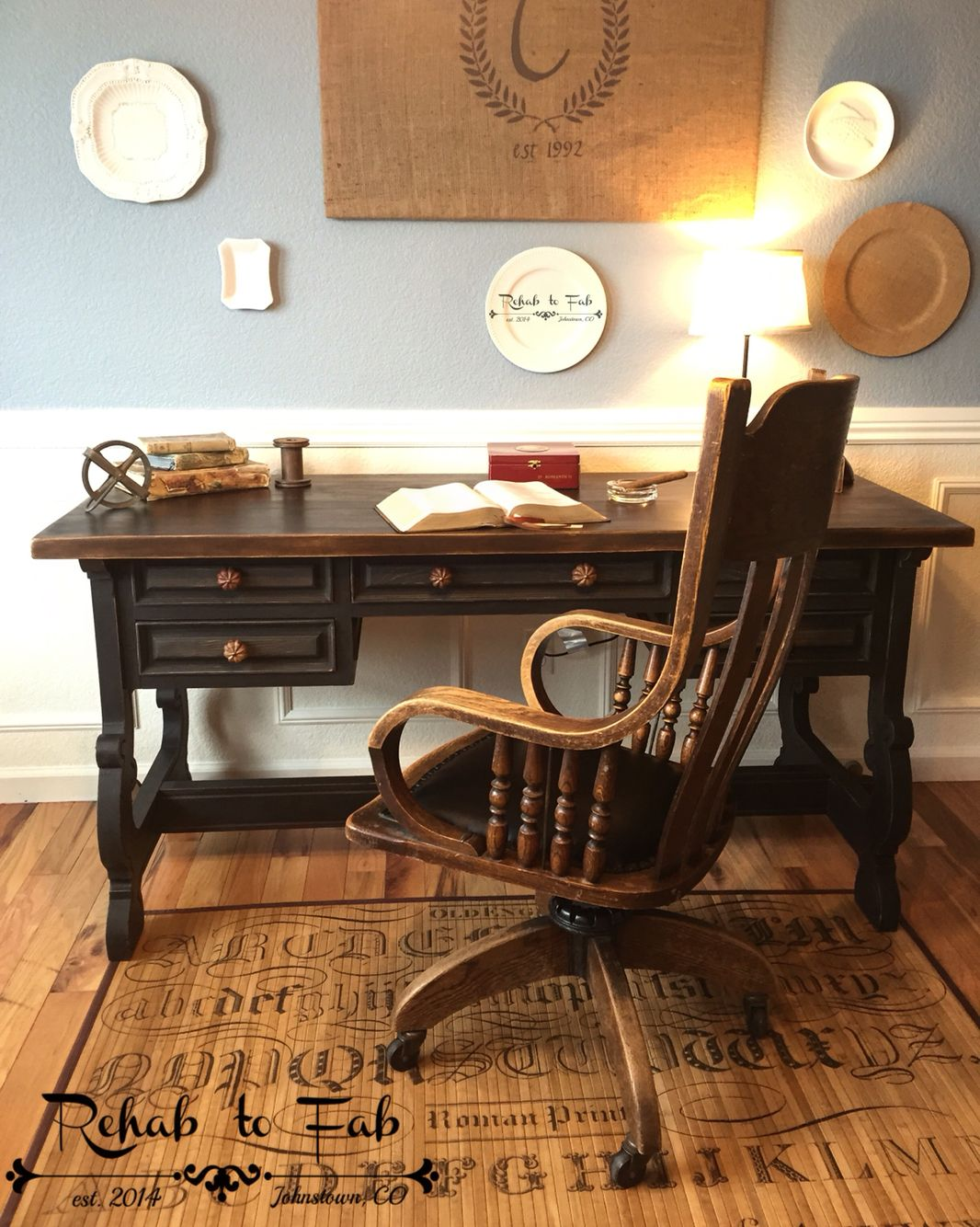 Executive Desk U0026 Antique Oak Library Chair From 1920u0027s. Painted In  @heirloompaint Black Bean