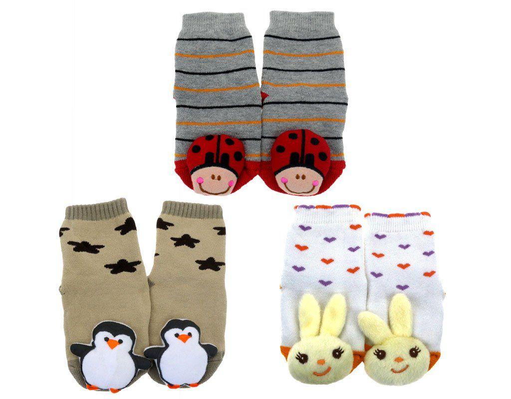 Bonamart 3 Pack Baby Kids Girls Boys Tube Thick Socks 3d Cartoon
