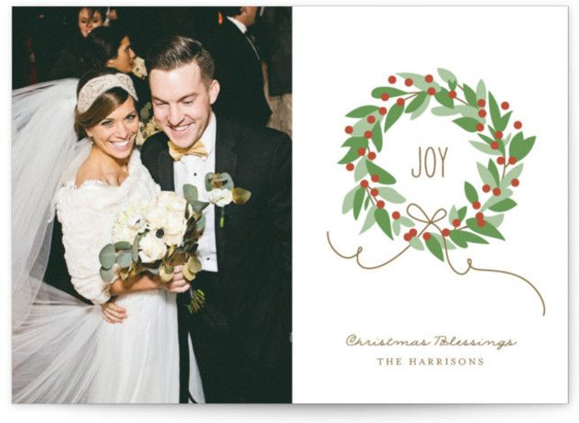 """Photo of """"Magnolia Wreath"""" – Customizable New Year Photo Cards in Gold, Green or White by Jennifer Postorino."""