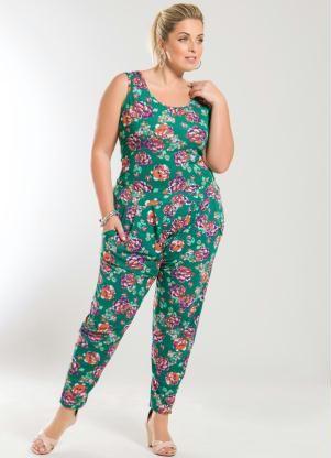 Blusa sem Mangas Verde Estampa Flores Plus Size - Posthaus