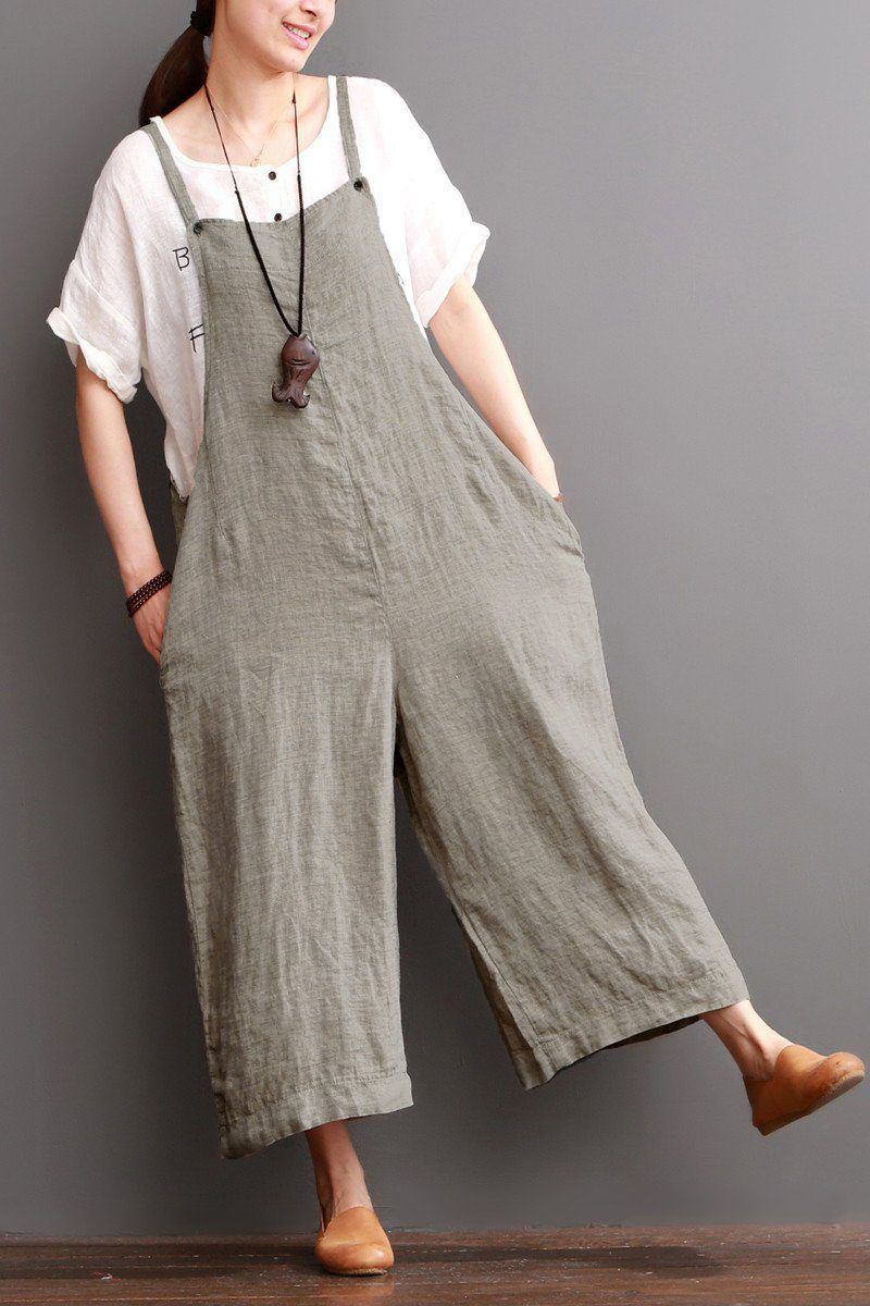 d5894d46cf6d0c Cotton Linen Sen Department Causel Loose Overalls Big Pocket Trousers Women  Clothes From the design to tailoring,the whole overalls is so simply and ...