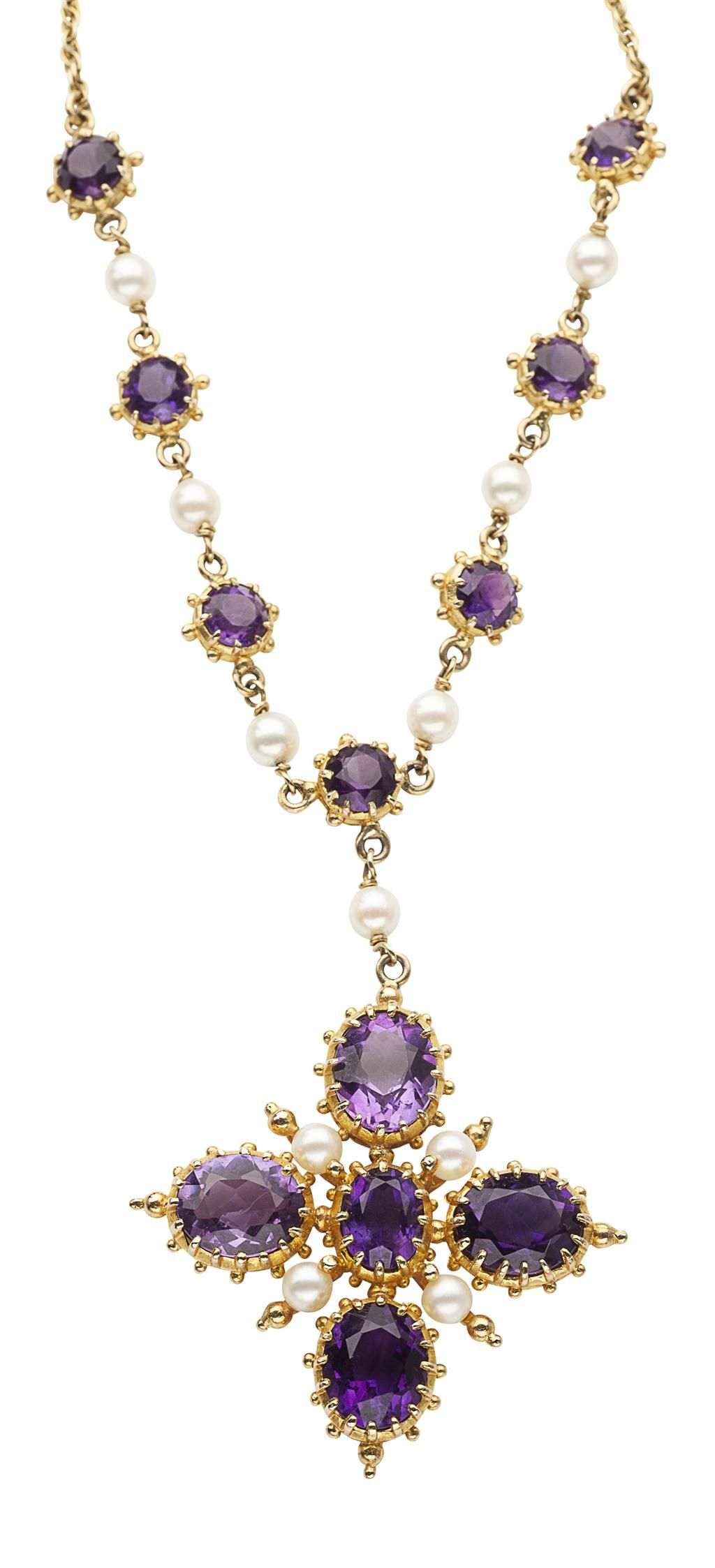 A ct gold amethyst and pearl pendant necklace in the renaissance