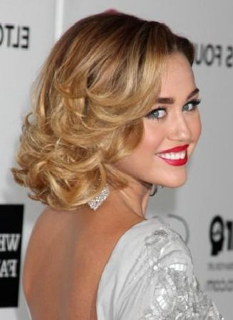 Miley Cyrus Curly Bob Prom Hairstyle Medium Curly Hair