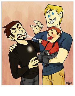 Steve's favorite family picture.  Steve, Tony, and little Peter.