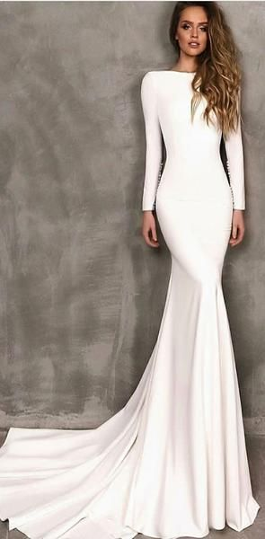 Long Sleeves White Mermaid Elegant Prom Dresses Modest Fashion