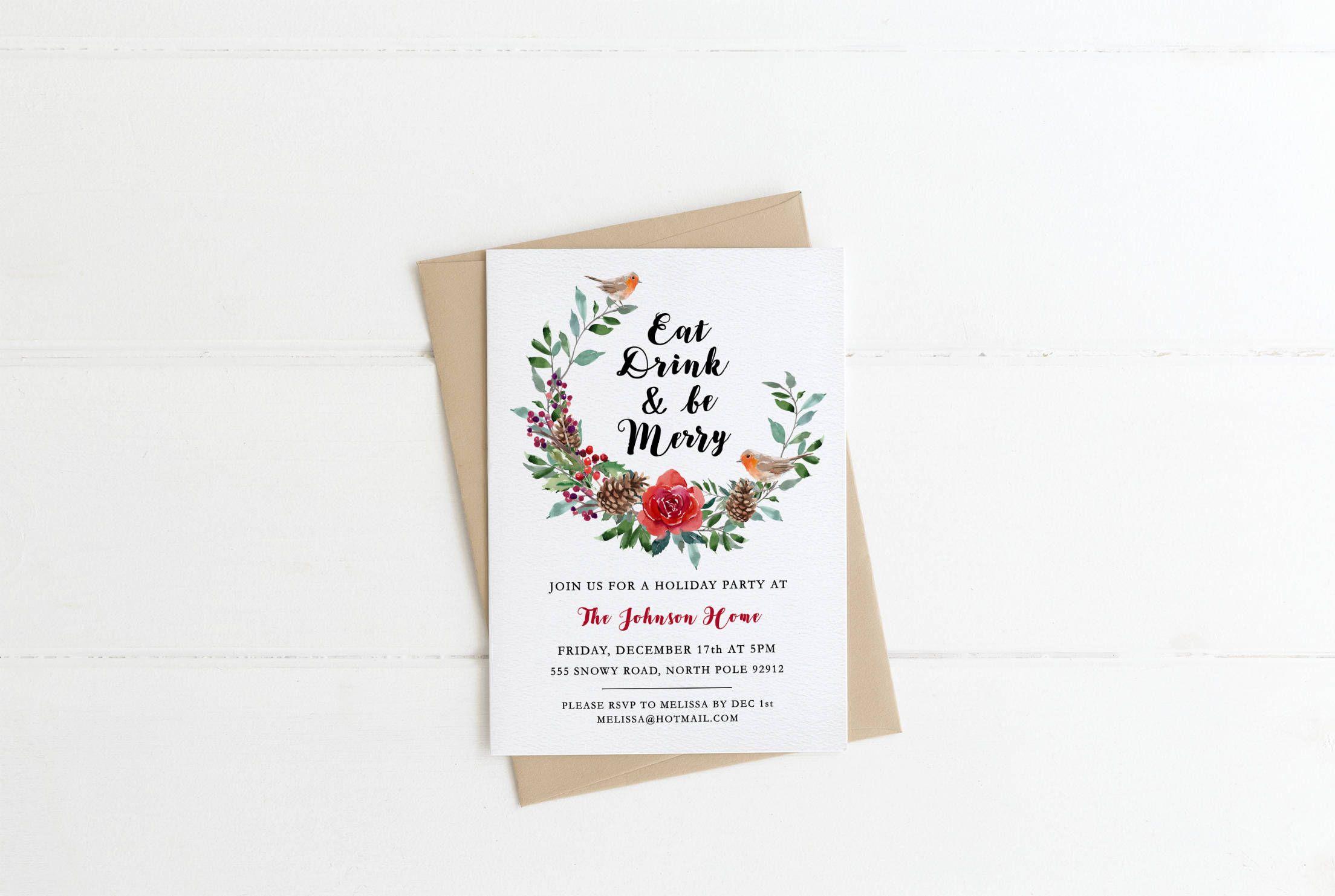 Christmas Party Invitation - Personalized Christmas Invite, Digital ...
