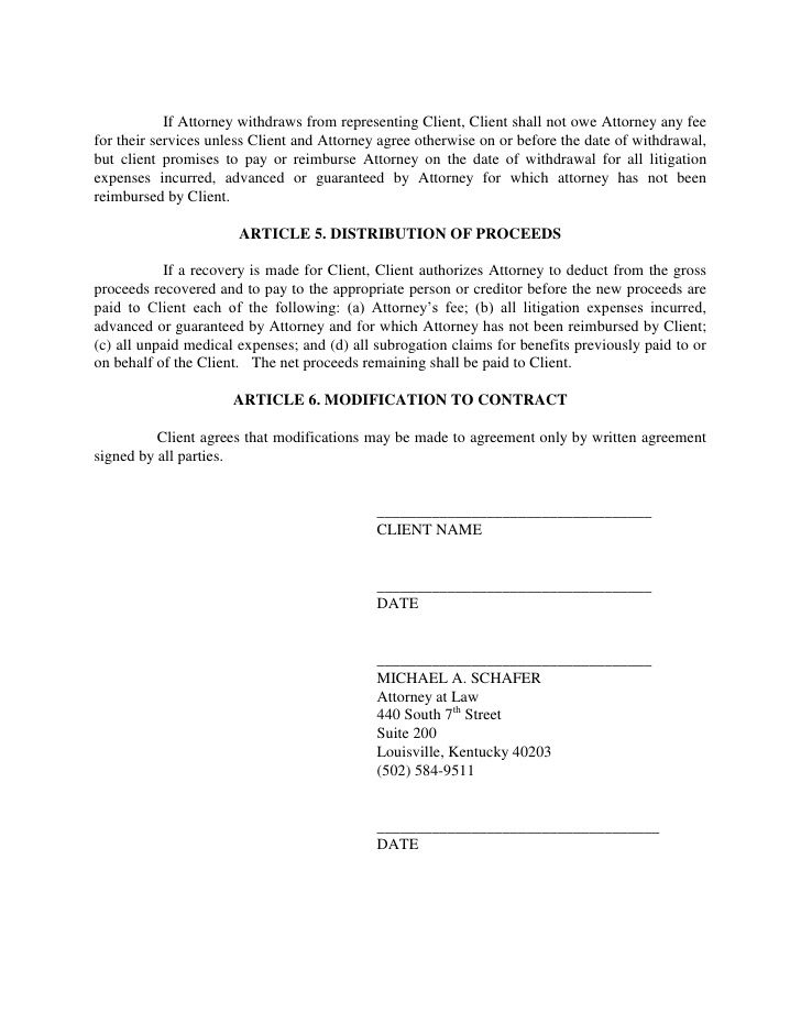 Contingent Fee Representation Agreement Contract For Legal - trademark attorney sample resume