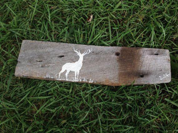 Buck painting on barn wood- a deer hand painted on reclaimed barn wood