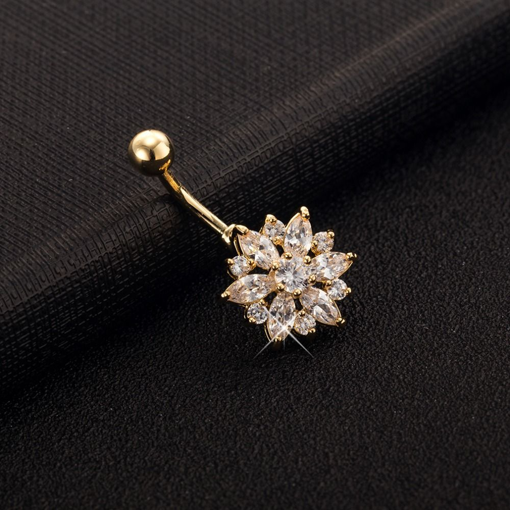 Vendita calda di alta qualità placcato oro austriaco di cristallo riempito fiore ombelico anelli del tasto di bell donne sexy monili penetranti del corpo