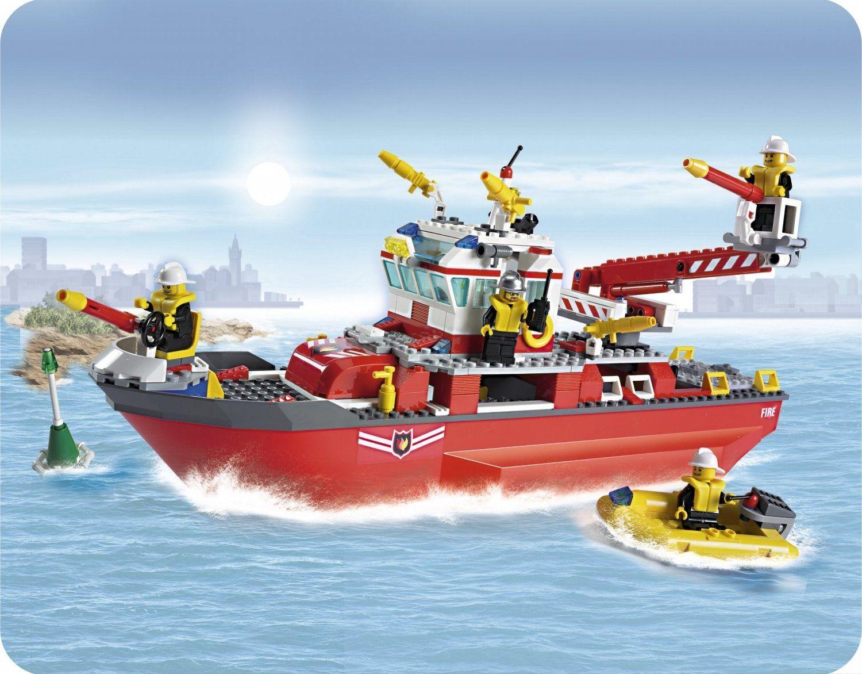 lego 7207 jeu de construction lego city le bateau des pompiers - Lego City Pompier