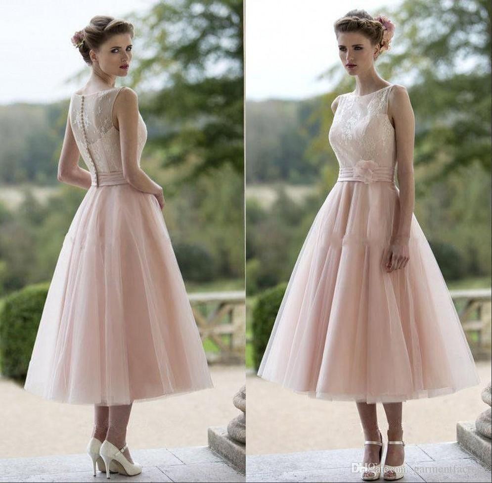 Pink lace wedding dress  Vintage Dusty Pink Tea Length Bridesmaid Dresses Illusion Neckline A