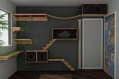 katzen kletterwand holz kletterlandschaft katzentreppe. Black Bedroom Furniture Sets. Home Design Ideas