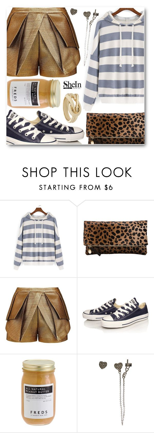 """""""War Zone."""" by eclectic-chic ❤ liked on Polyvore featuring Clare V., sass & bide, Converse, FREDS at Barneys New York, Wet Seal, Wallis, stripes, leopard, converse and shein"""