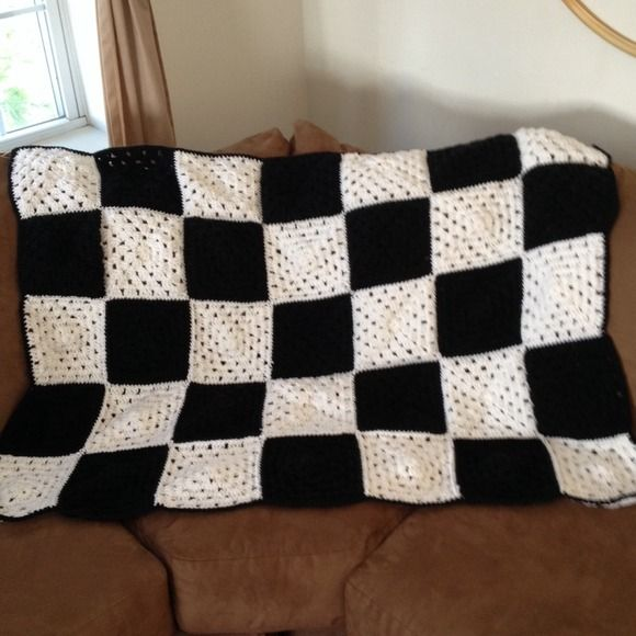 Crochet checkered flag blanket Warm up this winter in this crochet checkered flag afghan.  You will definately be a winner this season with this finishing flag blanket! It consists of 18 white and 17 black granny squares.    This is a MADE TO ORDER item.  It will ship upon completion after receiving payment in 1 to 2 weeks.    100% acrylic     Available in other colors upon request.  Please feel free to visit my shop on etsy.com! crochet Craft By Rachel Accessories