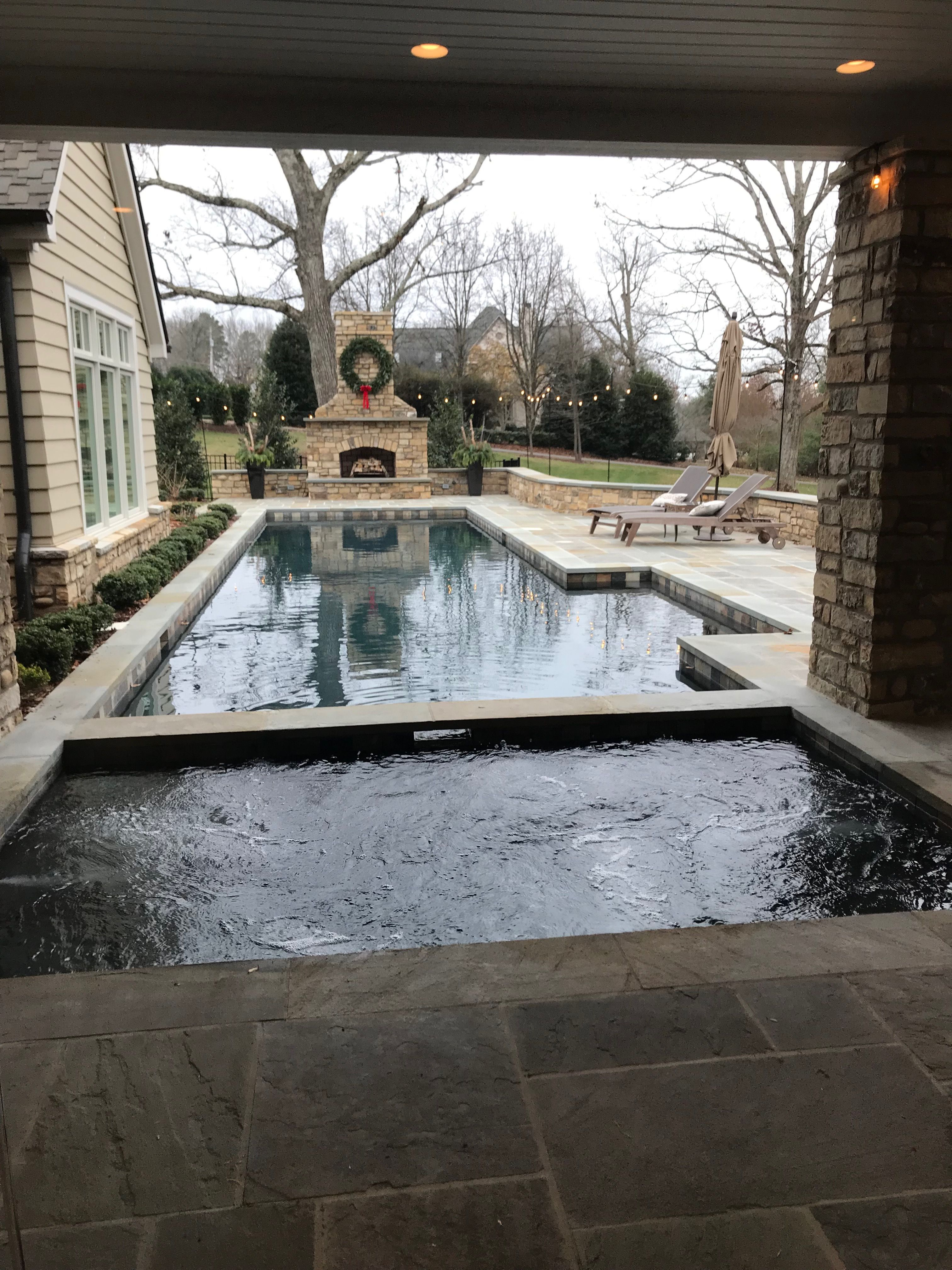 Hot Tub Under Overhang With Lap Pool Lap Pools Backyard Hot Tub Backyard Pool Hot Tub