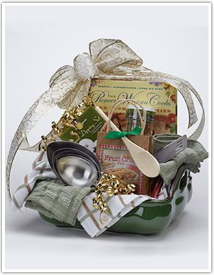 Tips to make your own holiday gift basket! Add baking supplies, a