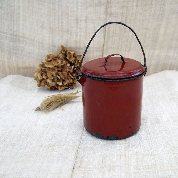 Enamel Canister Deep Rich Red Vintage French by FrenchGypsy, $18.00