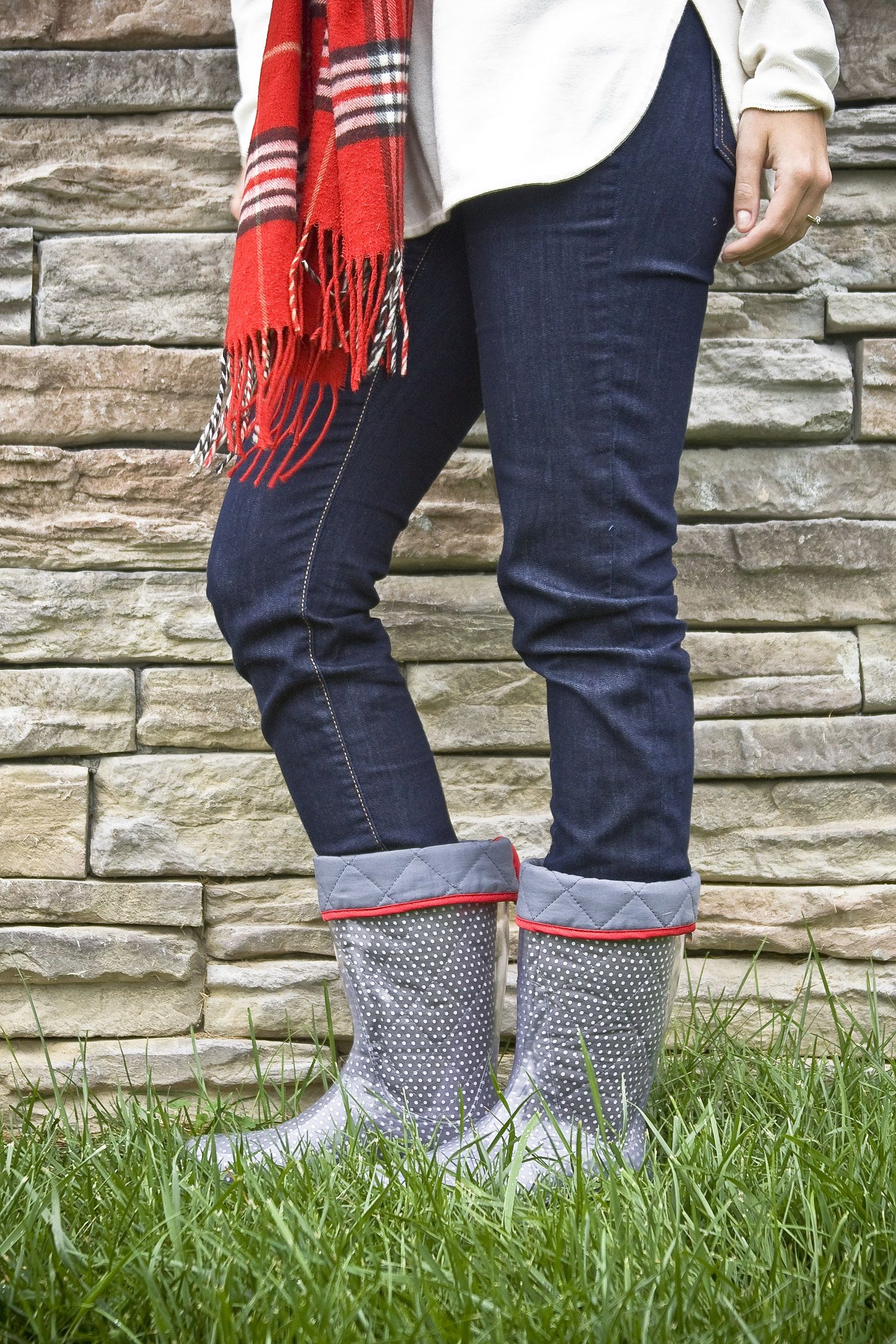 TwoAlity's Grey polka-dot boot liner with Poppy Red binding! :) #ClearBoots #InterchangeableLiners #MadeintheUSA