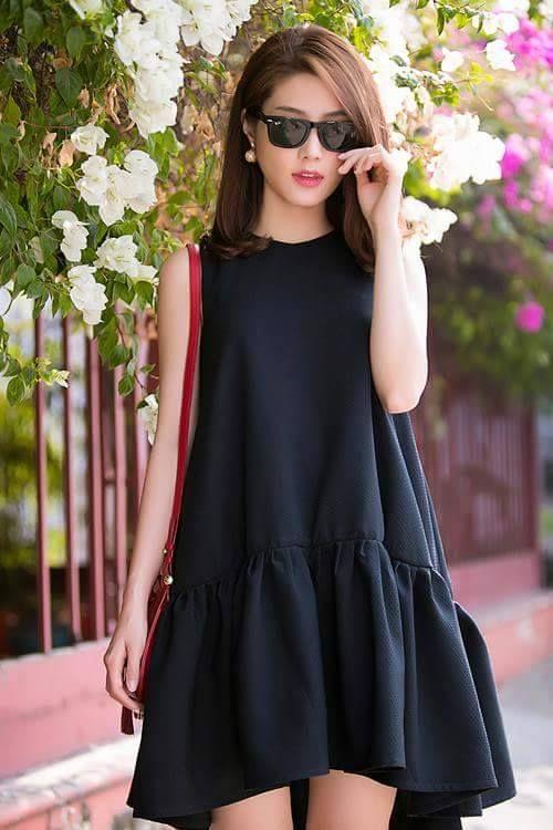 Đầm suông đen mullet thiết kế hạ eo dễ thương, Màu sắc: Đen, Chất liệu: Vải tuyết mưa, Kích thước: Freesize ( 46kg đến 54kg mặc vừa), Chiều dài: 88cm
