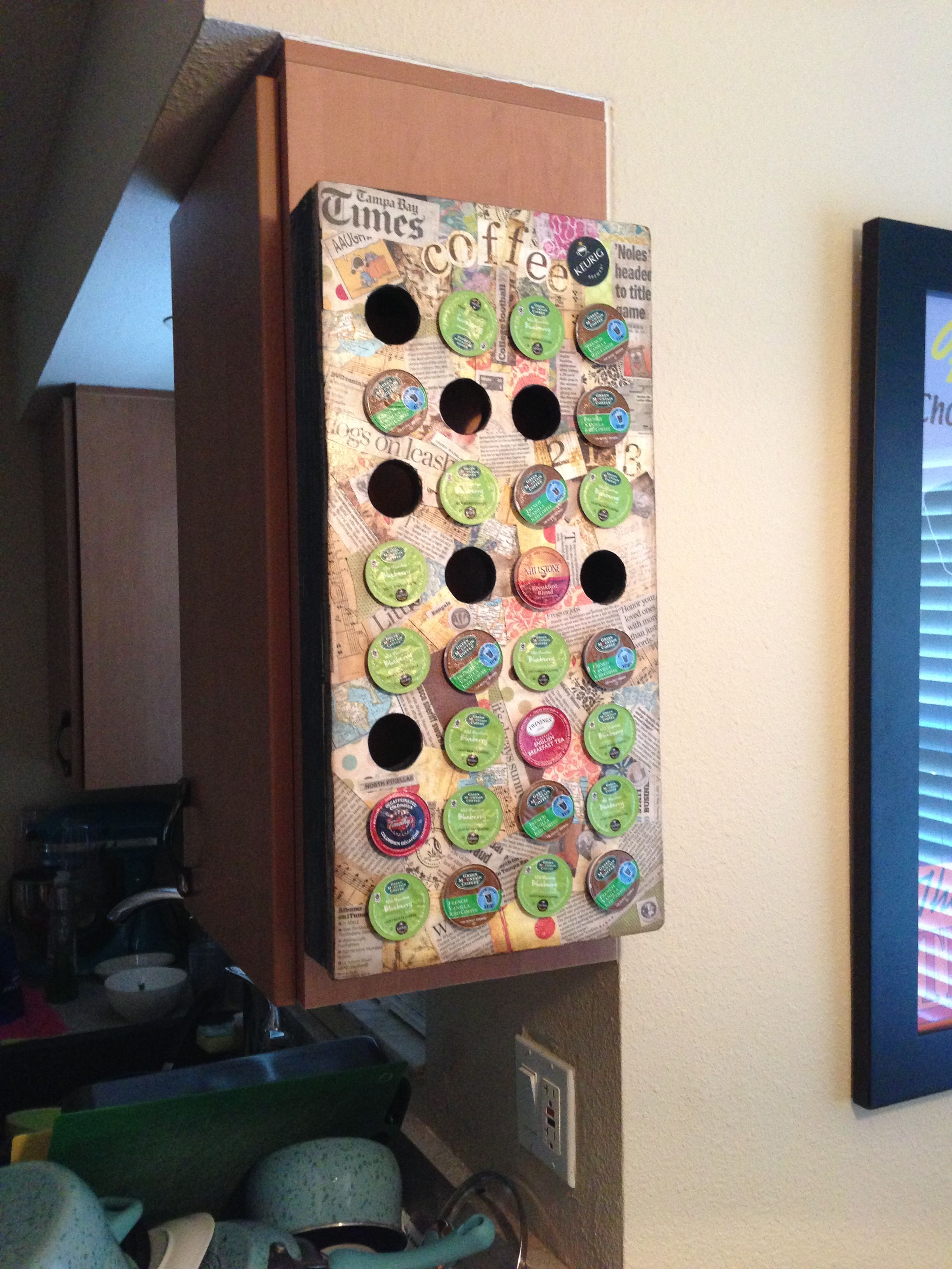 homemade keurig k cup holder holds 32 cups of fun personalized with newspaper clippings and. Black Bedroom Furniture Sets. Home Design Ideas