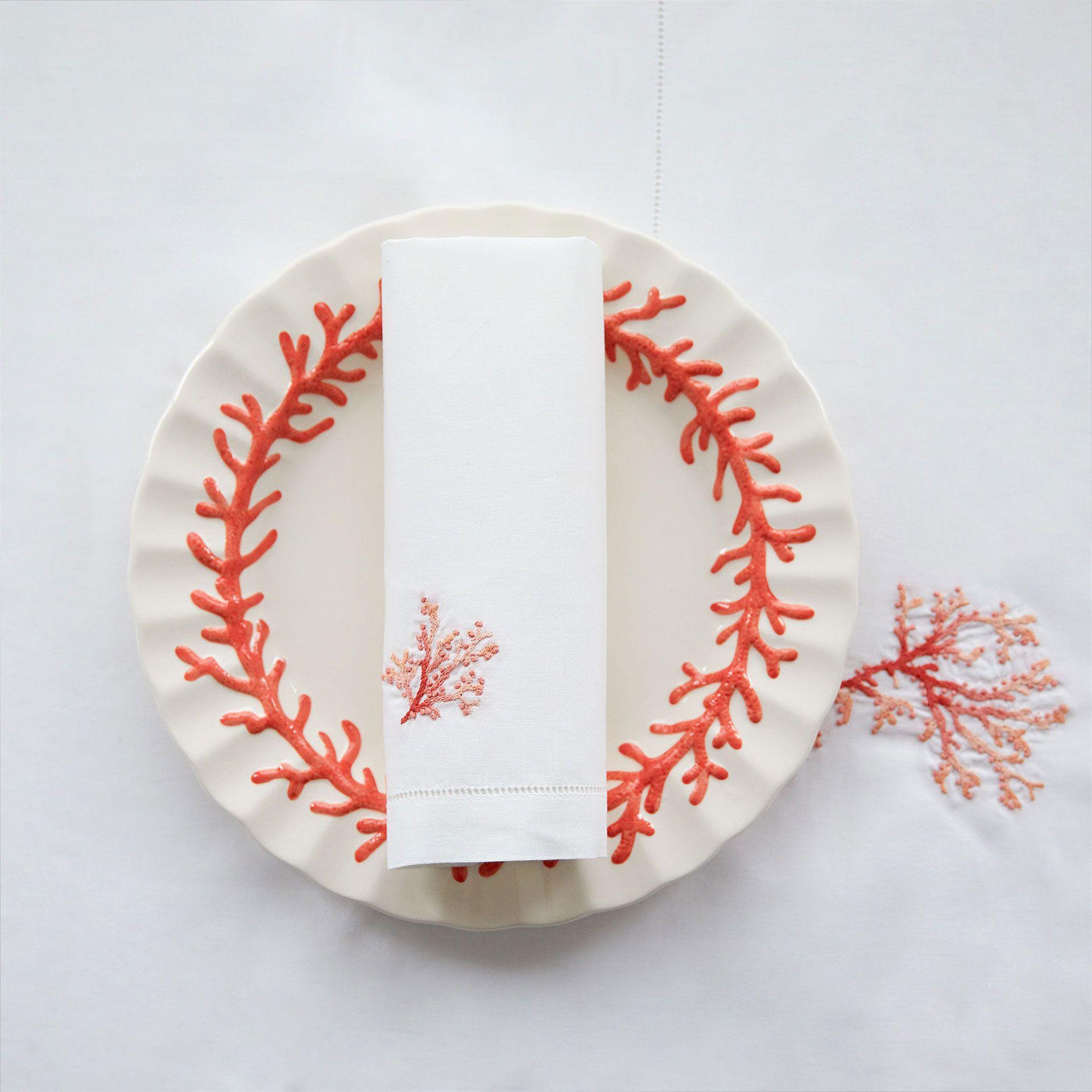Mantel y servilletas bordado coral mesa nueva for Servilletas papel zara home
