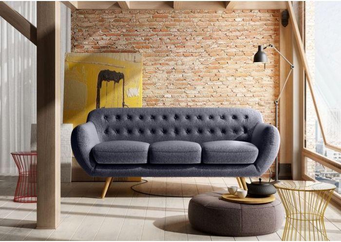 Canapé 3 places vintage pieds coniques PARIS en Tissu Gris