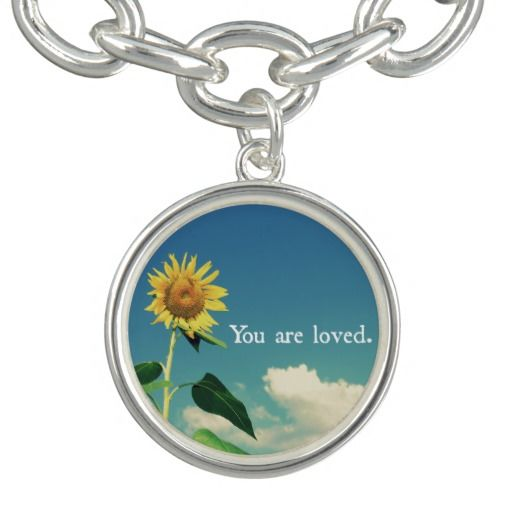 You are Loved with Sunflower Charm Bracelets #love #jewelry