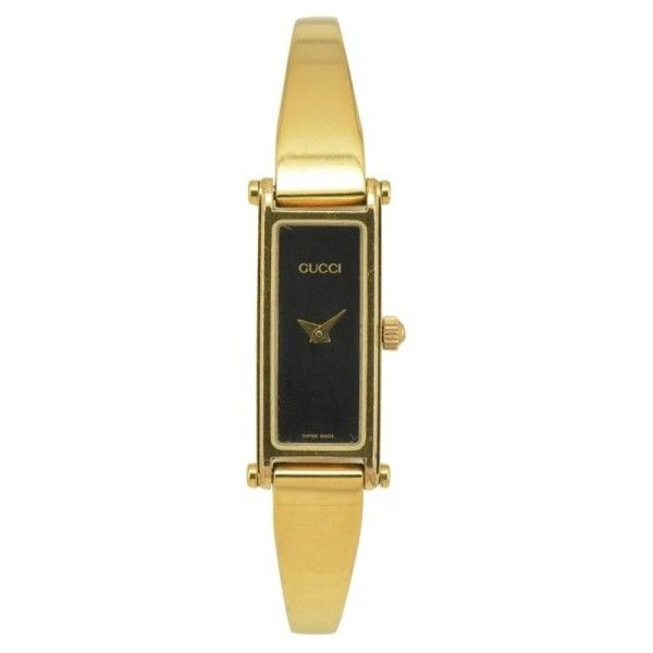 3f7dcd96f96 Pre-owned Gucci 1500L Gold Plated Black Dial Quartz 12mm Womens Watch ( 156)