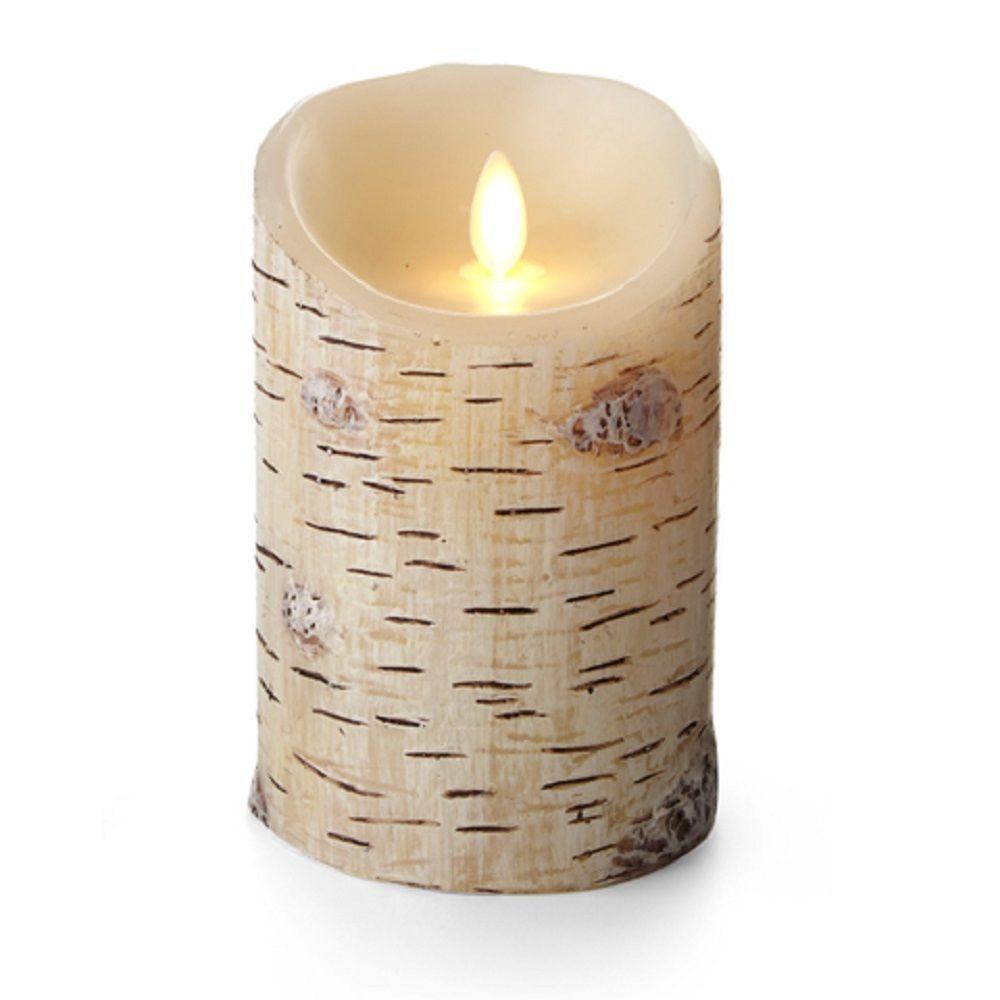 Textured wax birch luminara candle