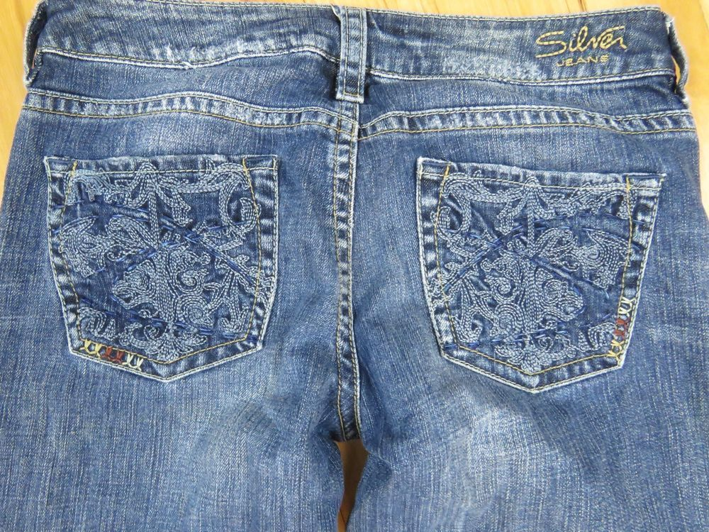 SILVER JEANS Lola Heavy Stitching Floral Design Women's Size 29 x ...