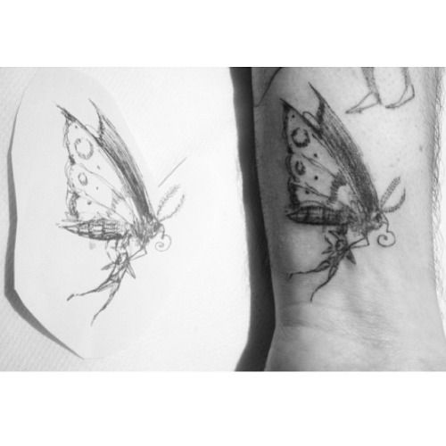 A tattoo of my drawing 'traveling by moth'. Tattoo by Laura Cherrygrove, in Germany, on Shai Levy's arm.