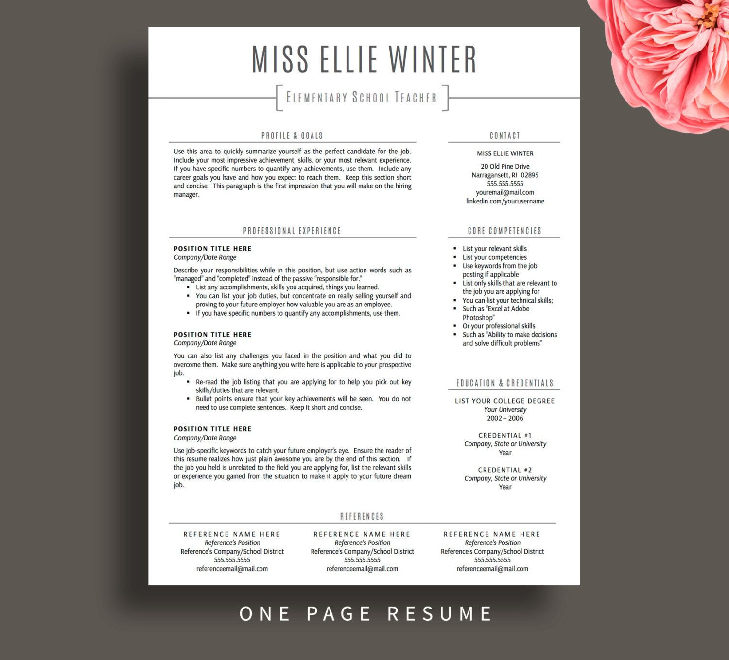 Teacher Resume Template For Word And Pages One By Printablesbylulu