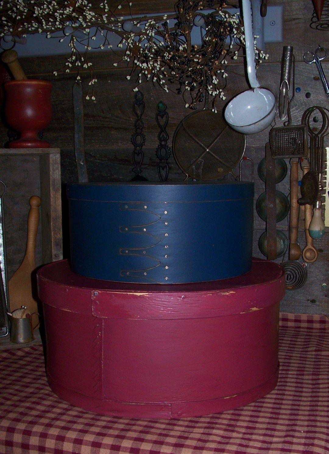 Primitive Painted 2 Pantry Boxes 1 Box Shaker Style Nailed Finger Bands 1 LG Box | eBay