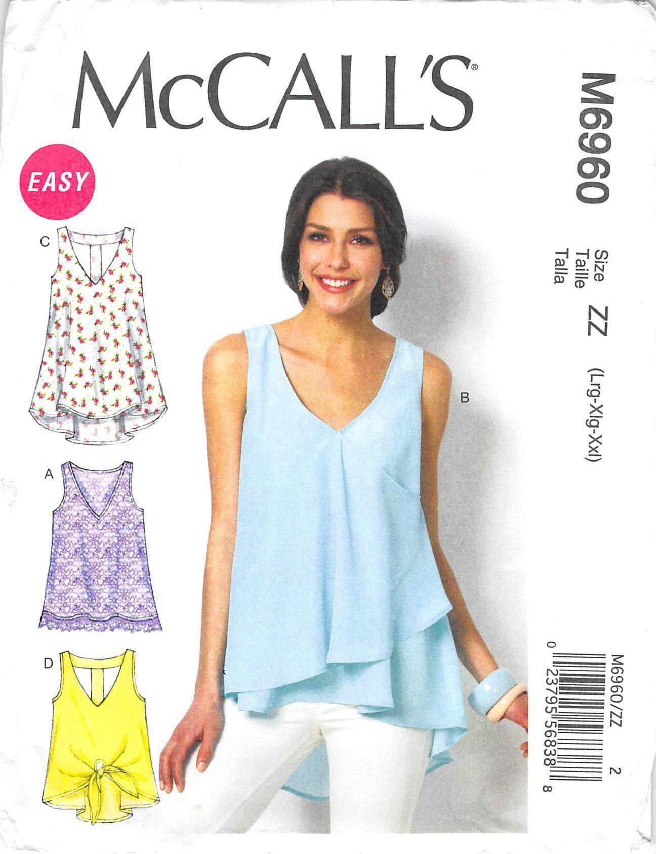 Mccalls 6960 - from 2014 - uncut - misses tops & tunics | Blusas y ...