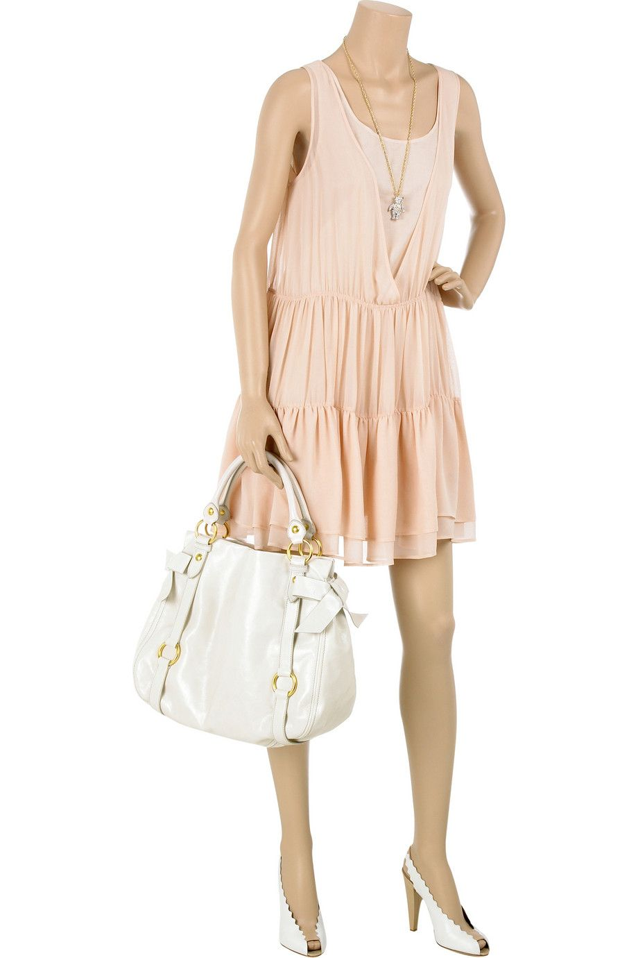 7b6ddc613b Blush silk sleeveless dress with tiered pleated skirt. See by Chloé dress  has a deep V-neck with a layered top underneath