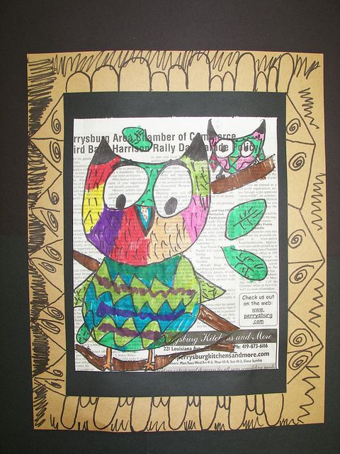 2nd Grade Owls-on newspaper or book page by Paintbrush Rocket, via Flickr