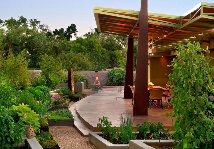 moderne terrassen berdachung und hochbeete mit gem se garten anlegen pinterest garten. Black Bedroom Furniture Sets. Home Design Ideas