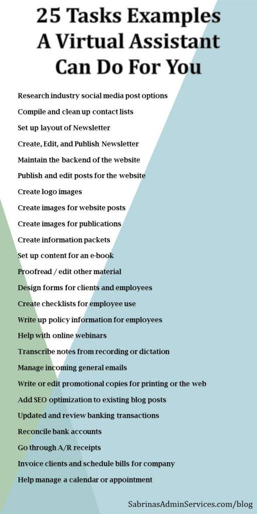 25 tasks a virtual assistant can do for your small business 25 task examples a virtual assistant can do for you sabrinas admin services flashek Choice Image