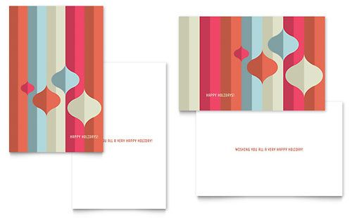 Modern Ornaments Greeting Card Template By Stocklayouts  Holiday