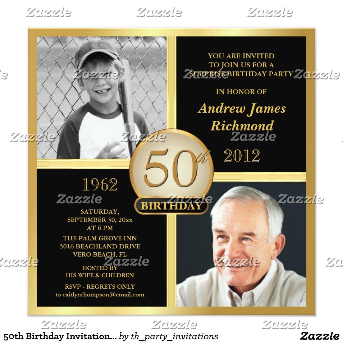 50th Birthday Invitations Then Now 2 Photos