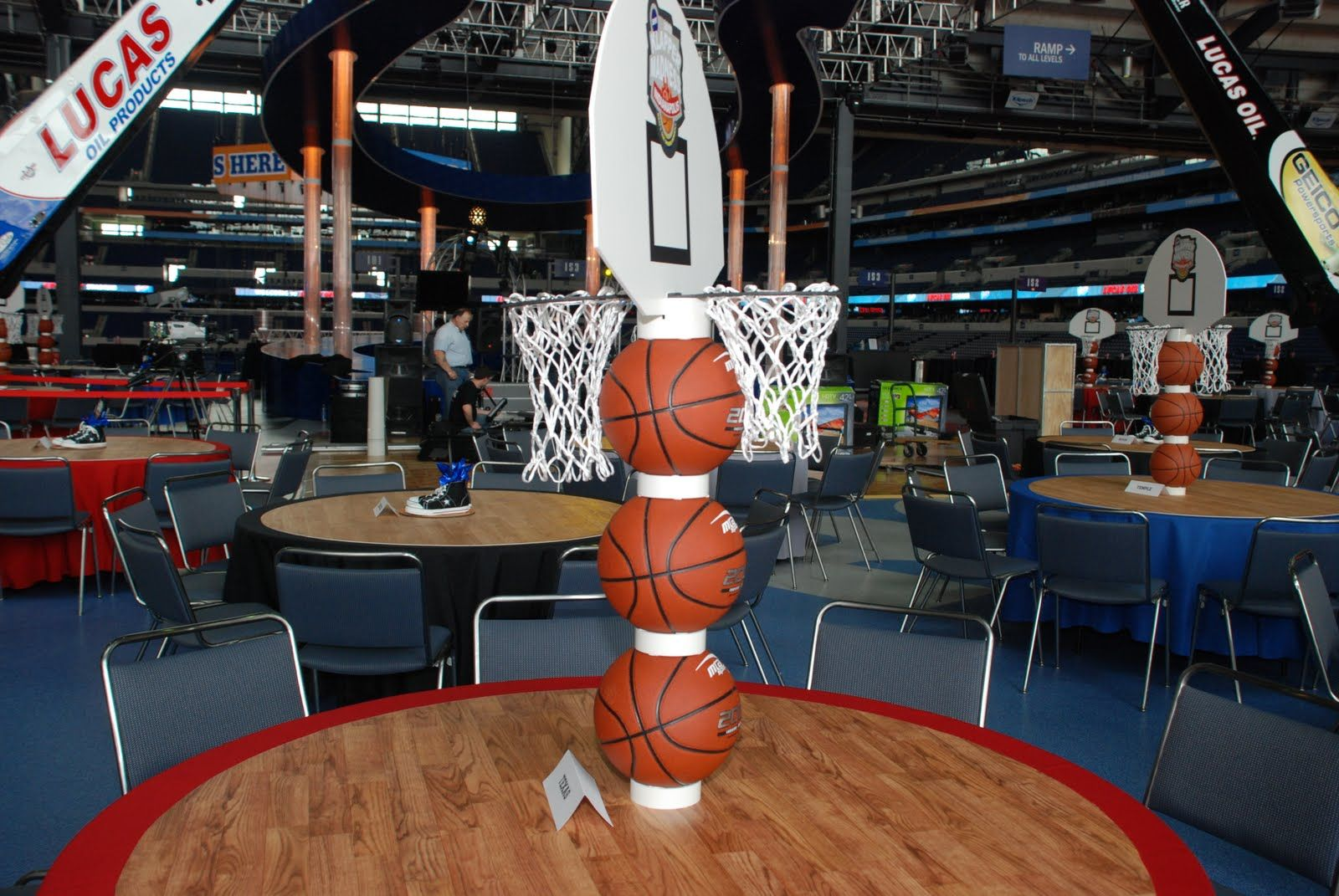 Sports Themed Bar Mitzvah Centerpieces   Tall Stacked Basketball  Centerpieces On Basketball Court Table Toppers