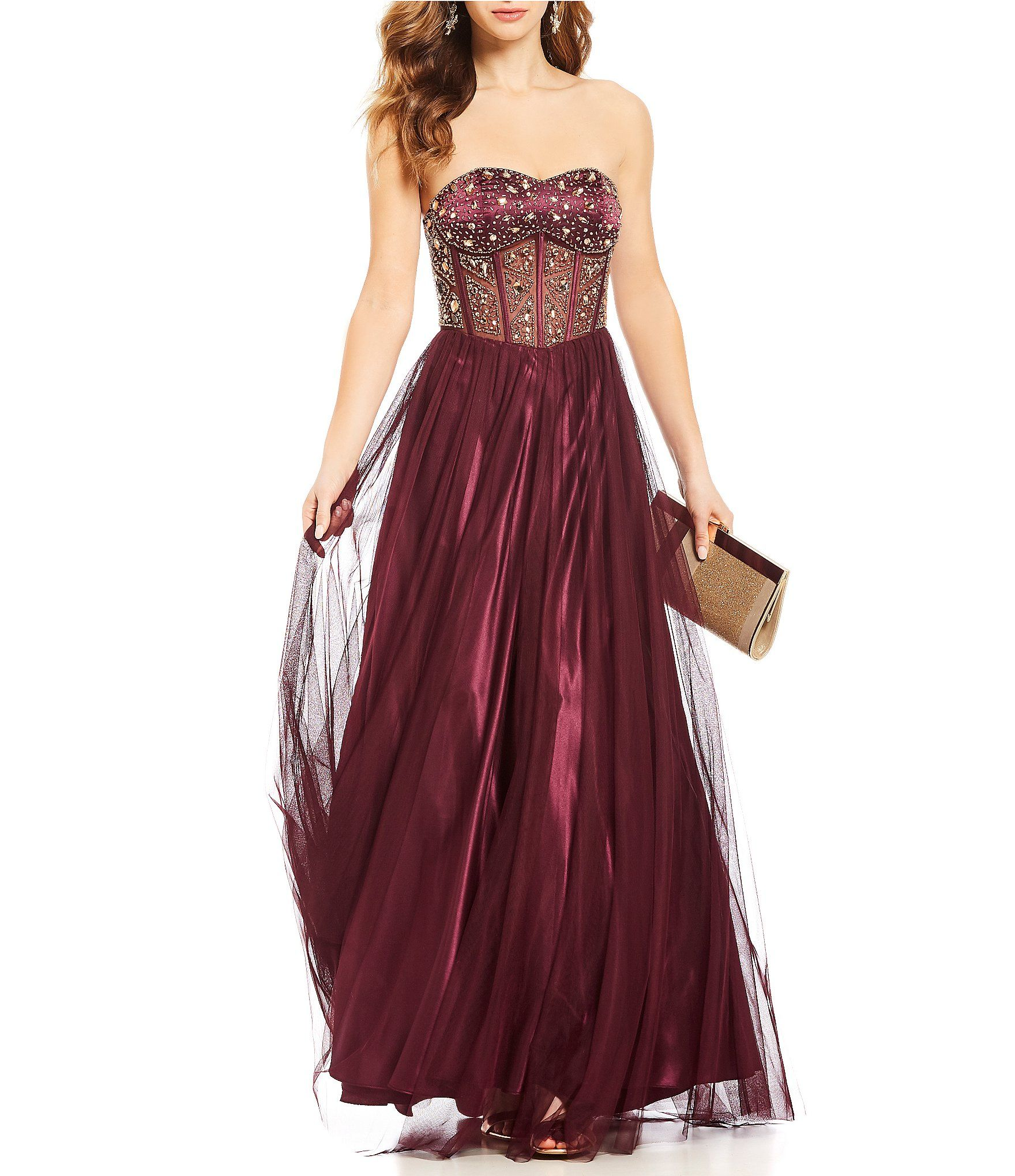 Shop for blondie nites strapless embellished corset bodice ball gown
